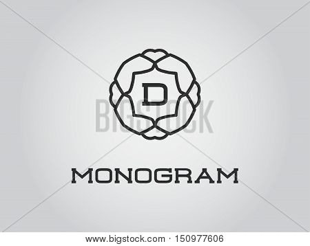 Compact Monogram Design Template With Letter Vector Illustration Premium Elegant Quality