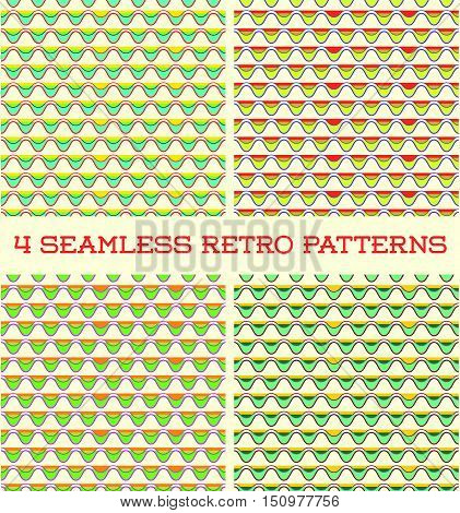 Set Of Seamless Retro Vintage Patterns In Vector