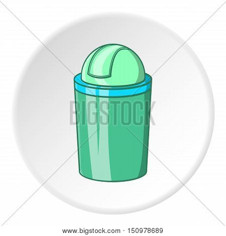Green trash can icon. Cartoon illustration of green trash can vector icon for web