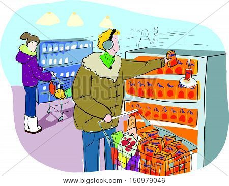 Vector Illustration Shopping In Grocery Market Or Mall