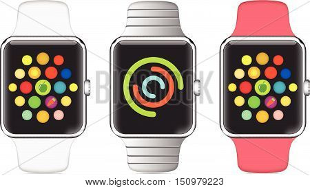 Trendy Colorful Vector Illustration Icon Of Aluminium Smart Watch With Smartwatch Interface
