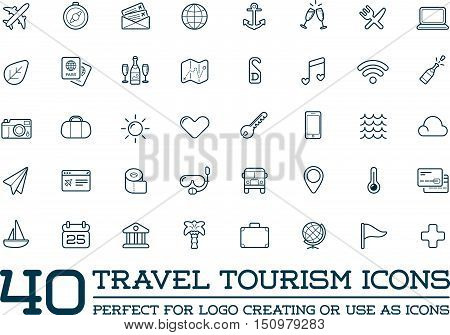 Set Of Vector Travel Tourism And Holiday Elements Icons Illustration Can Be Used As Logo Or Icon In