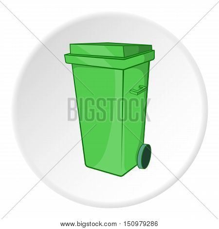 Trash can on wheels icon. Cartoon illustration of trash can on wheels vector icon for web
