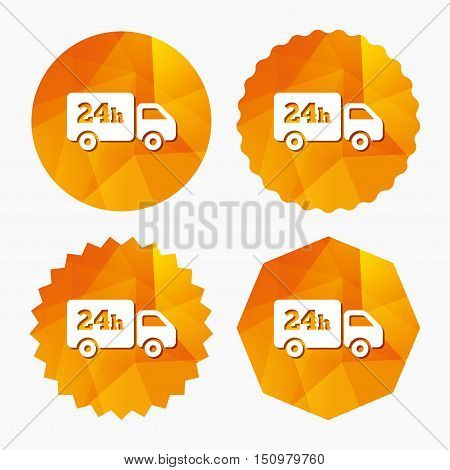 24 hours delivery service. Cargo truck symbol. Triangular low poly buttons with flat icon. Vector