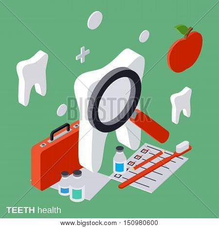 Teeth health, stomatology flat isometric vector concept illustration