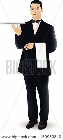 A Welcoming Waiter Character Holding A Serving Platter Or Silver Cloche