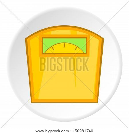 Yellow scales icon. Cartoon illustration of yellow scales vector icon for web
