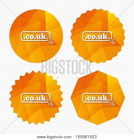 Domain CO.UK sign icon. UK internet subdomain symbol with cursor pointer. Triangular low poly buttons with flat icon. Vector