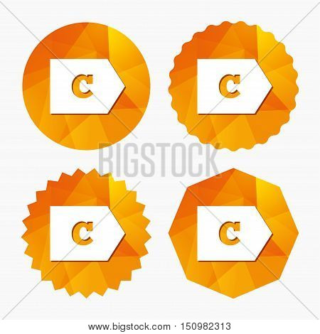 Energy efficiency class C sign icon. Energy consumption symbol. Triangular low poly buttons with flat icon. Vector