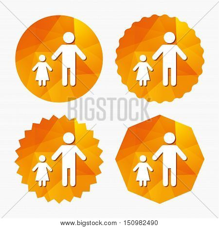 One-parent family with one child sign icon. Father with daughter symbol. Triangular low poly buttons with flat icon. Vector