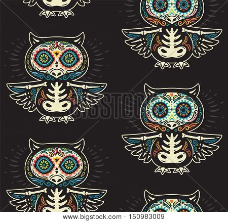 Seamless pattern - Day of The Dead cartoon calaveras sugar owl skulls. Mexican vector black background for holiday Dia de Muertos
