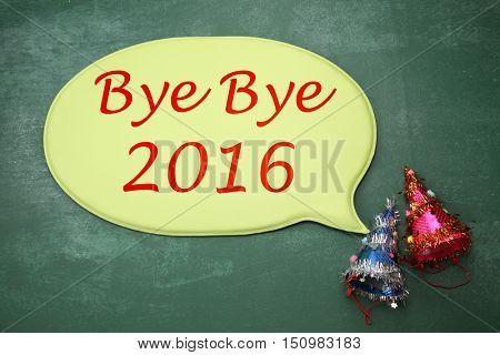 party hart with speech bubble bye bye 2016
