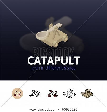 Catapult color icon, vector symbol in flat, outline and isometric style isolated on blur background