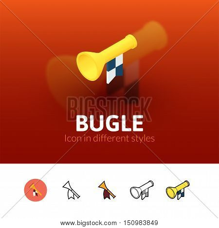Bugle color icon, vector symbol in flat, outline and isometric style isolated on blur background