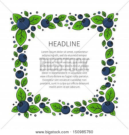 Blueberry line art vector illustration. Blueberry frame with sample text creative concept. Graphic design for poster banner placard. Template layout with text and berries.