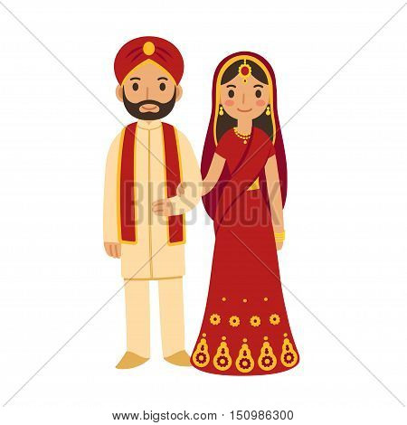 Indian wedding couple in traditional clothing. Cute cartoon vector illustration.