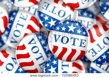 Vote buttons in red, white, and blue with stars - 3d rendering