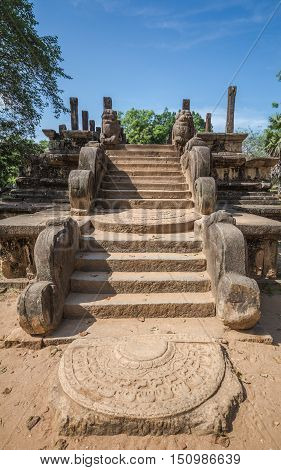 Ancient City of Polonnaruwa, stone pillars at the Audience Hall at Parakramabahu's Royal Palace, UNESCO World Heritage Site, Sri Lanka, Asia.