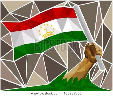 Man's Arm Raising The National Flag Of Tajikistan