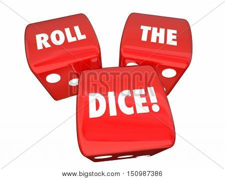 Roll the Dice Playing Game Betting Three Red Roll 3d Illustration