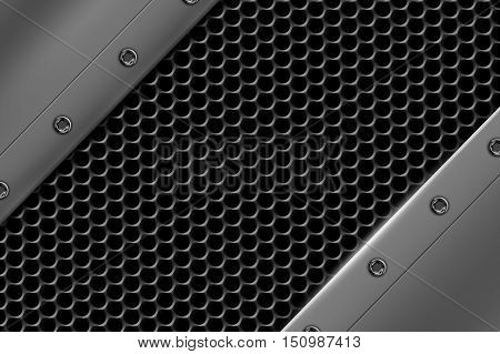chrome metal background with rivet on gray metallic mesh. background and texture 3d illustration.