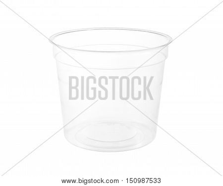 Round Transparent Plastic Cup isolated on white background