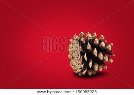Festive cone on red background. Greeting Christmas card concept