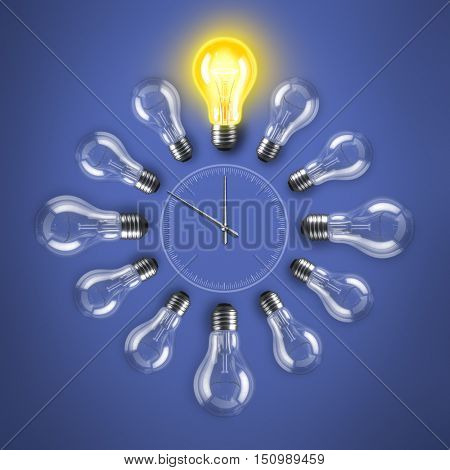 Group of lamp bulbs clock on blue background. 3D illustration