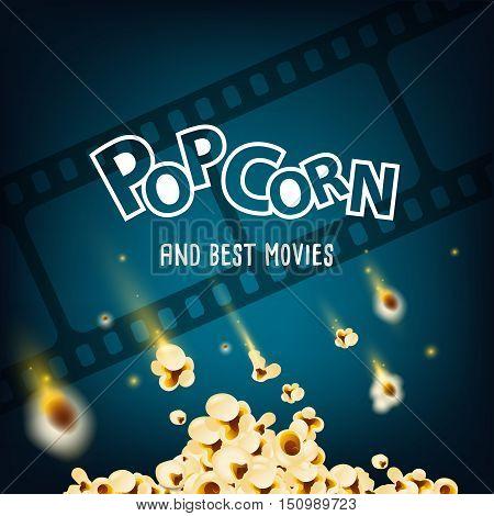 pop corn and cinema strip on background