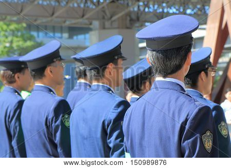 KANAZAWA JAPAN - OCTOBER 7, 2016: Japanese Police officers attend drive safe campaign at Kanazawa Station.
