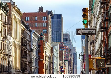 Intersection of Broadway and Spring Street in SOHO Manhattan New York City