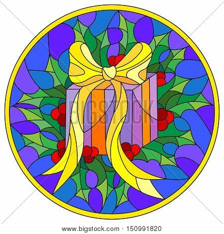 Illustration in stained glass style with a box with a gift ribbon and Holly branches on a blue background round picture frame