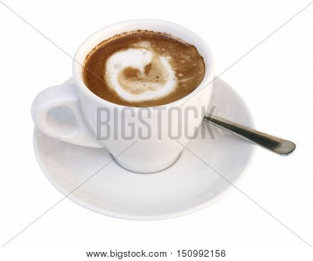 A photo of coffee with milk in a white cup, isolated on white background