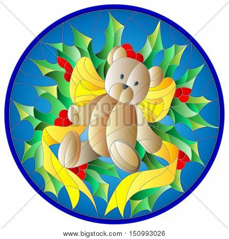 Illustration in stained glass style with a Teddy bear ribbon and Holly branches on a blue background round picture frame