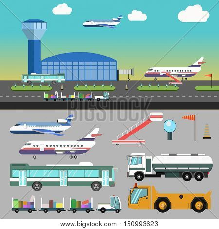 Airport illustration with airplane and vacation. Vector transport flat icons. Set of airline servise symbols: bus and baggage, truck for deliver and runway, stairs and aircraft transport for travel.