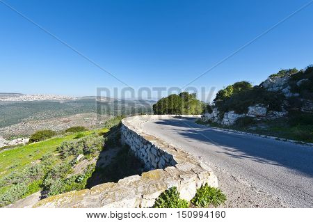 Asphalt Road Leading to the Mount Tabor in Israel