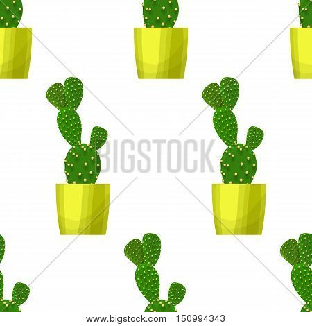 Opuntia Cactus - Floral Seamless Pattern
