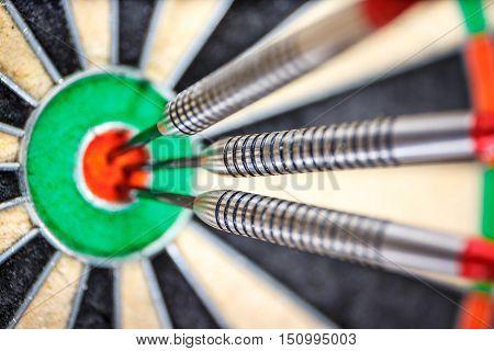 Three Darts In Bull's Eye, Close Up