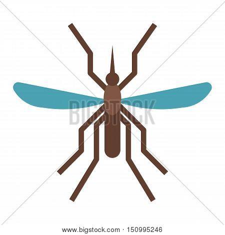 Mousquito flat design icon. Bloodsucking midge vector illustration.