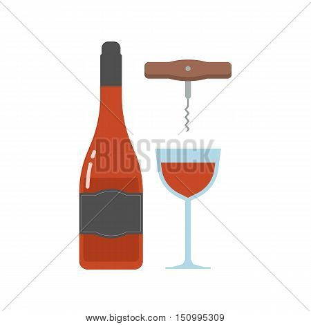 Red wine bottle and full glass with corkscrew. Alcohol drink bottle and cup. Celebration toast vector illustration.