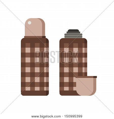 Closed and opened thermos flask icons. Hiking thermoses vector illustration.