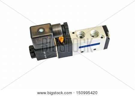 Solenoid Valve on isolated background, pneumatic, industry