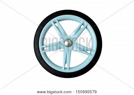A wheel of baby cart with rubber tire