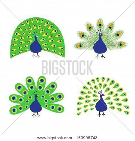 Peacock set. Feather out open tail. Beautiful Exotic tropical bird. Zoo animal collection. Cute cartoon character. Decoration element. Flat design. White background. Isolated. Vector illustration
