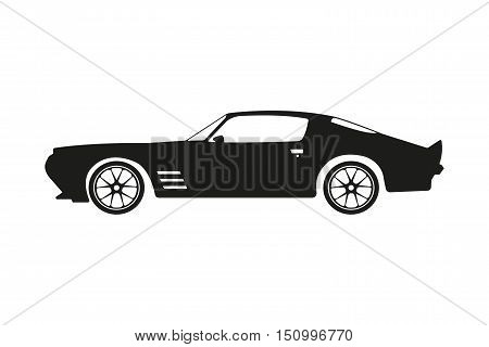 Black silhouette of a sports car on a white background. Vector illustration