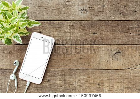 phone blank white screen on old wood table mockup phone rose gold color