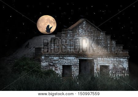 Halloween scenery with old house. Crow sitting on the roof of the vintage house. Spooky old house with haunted. Happy halloween theme. Halloween greeting card.