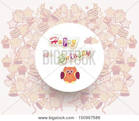 Baby invitation card. Baby Greeting postcard. Happy birthday background. Design template.