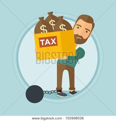 Chained to a large ball hipster caucasian businessman with the beard carrying heavy box with bags full of taxes. Businessman slave. Vector flat design illustration in the circle isolated on background