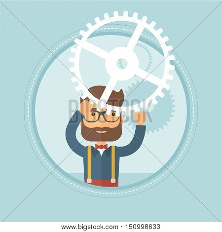 Young hipster caucasian businessman with beard holding cogwheel above his head. Concept of business solution, business planning. Vector flat design illustration in the circle isolated on background.